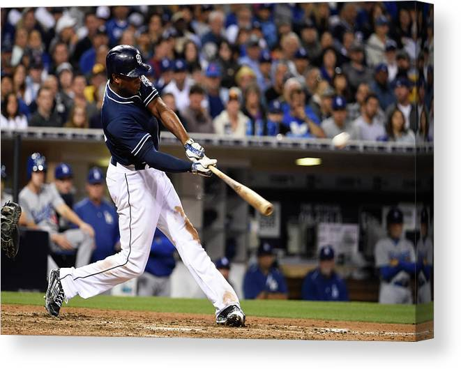 People Canvas Print featuring the photograph Justin Upton by Denis Poroy