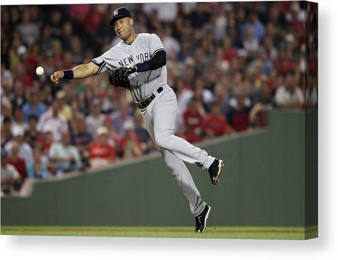 People Canvas Print featuring the photograph Kevin Youkilis and Derek Jeter by Elsa