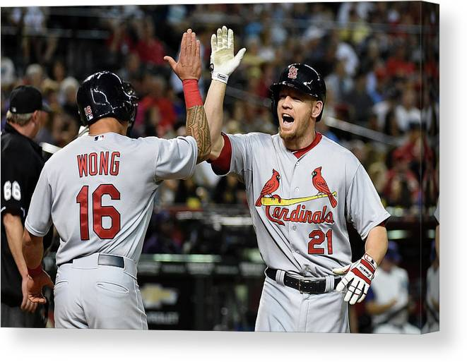 St. Louis Cardinals Canvas Print featuring the photograph Kolten Wong and Brandon Moss by Norm Hall