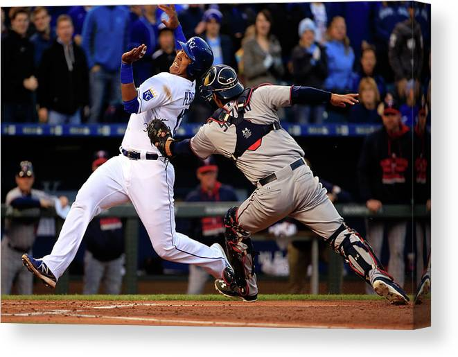 Salvador Perez Diaz Canvas Print featuring the photograph Kurt Suzuki by Jamie Squire