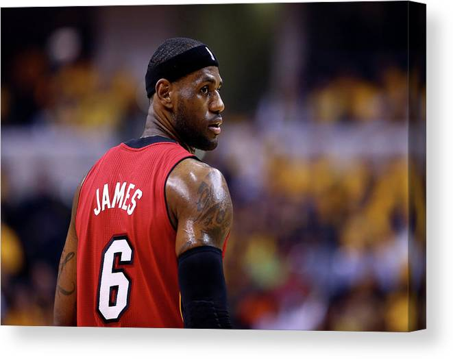 Playoffs Canvas Print featuring the photograph Lebron James by Andy Lyons