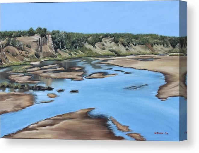 Landscape Canvas Print featuring the painting Letaba river by Nellie Visser