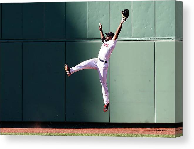 People Canvas Print featuring the photograph Manny Machado and Jackie Bradley by Jim Rogash