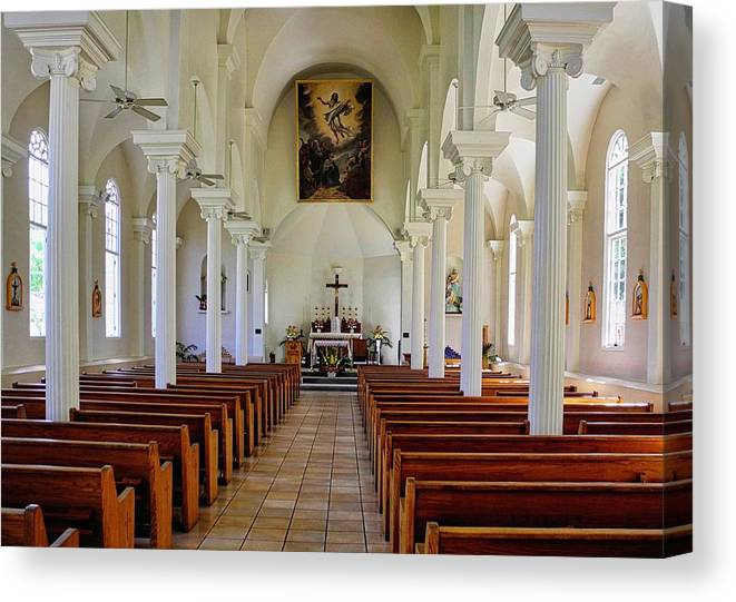 Lahaina Canvas Print featuring the photograph Maria Lanakila Church Interior by Kirsten Giving