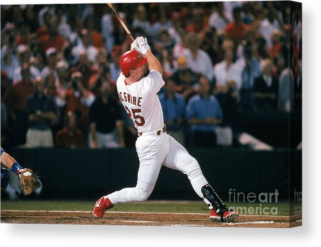 St. Louis Cardinals Canvas Print featuring the photograph Mark Mcgwire and Roger Maris by Ron Vesely