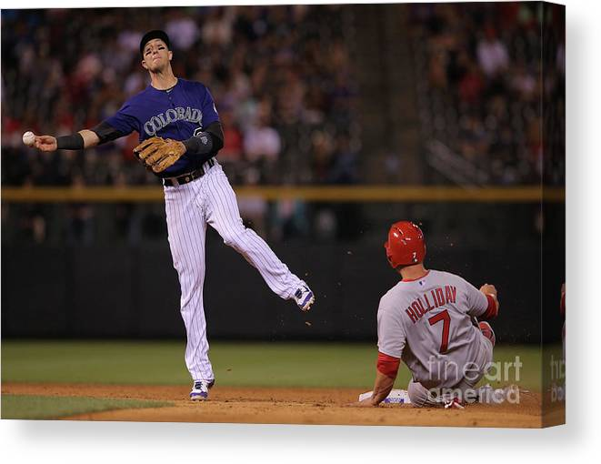 Double Play Canvas Print featuring the photograph Matt Holliday, Matt Adams, and Troy Tulowitzki by Doug Pensinger