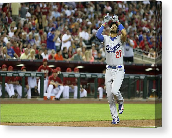 Second Inning Canvas Print featuring the photograph Matt Kemp by Christian Petersen