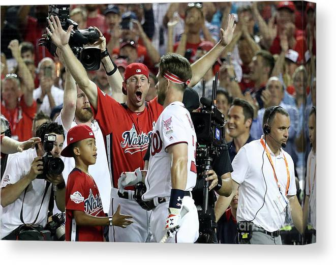People Canvas Print featuring the photograph Max Scherzer and Bryce Harper by Rob Carr