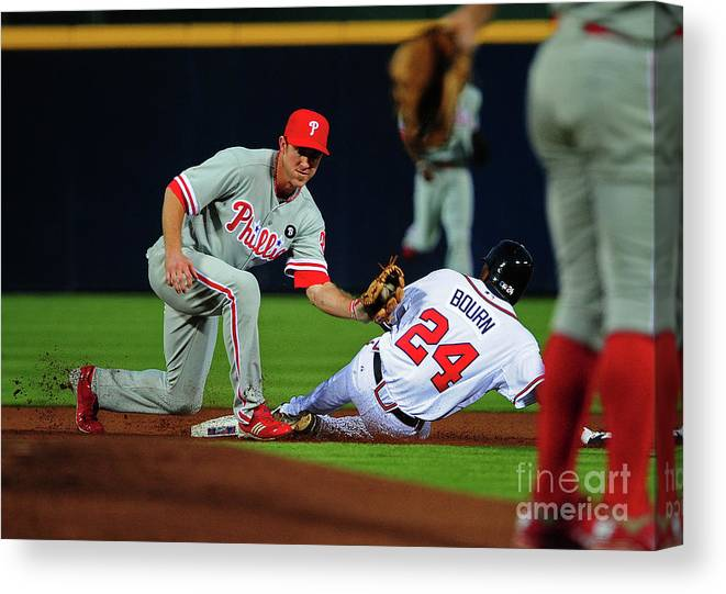Atlanta Canvas Print featuring the photograph Michael Bourn and Chase Utley by Scott Cunningham