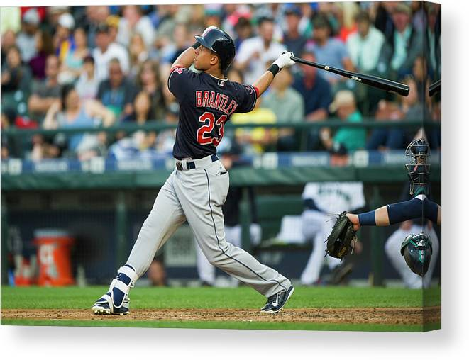 People Canvas Print featuring the photograph Michael Brantley by Rich Lam