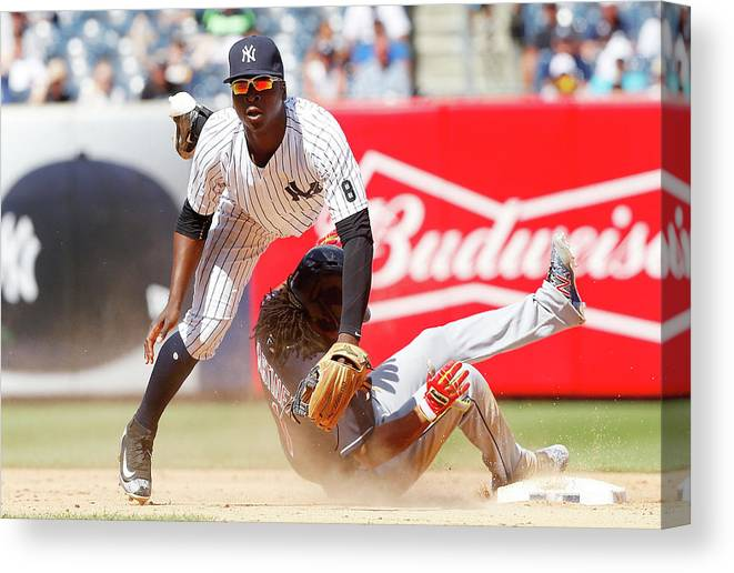 Double Play Canvas Print featuring the photograph Michael Martinez and Didi Gregorius by Jim Mcisaac