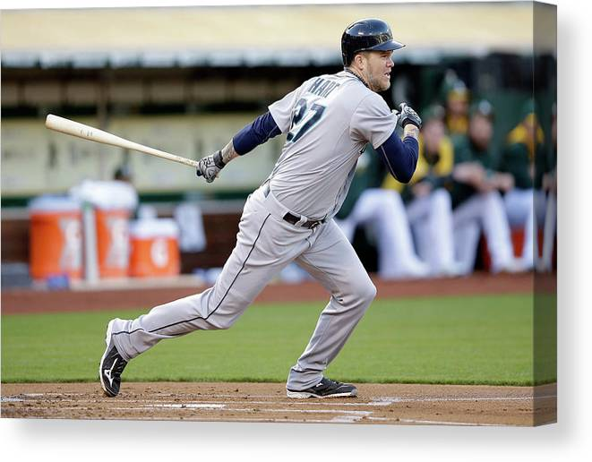 American League Baseball Canvas Print featuring the photograph Michael Saunders and Corey Hart by Ezra Shaw