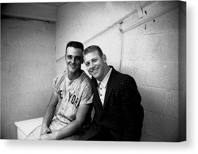 American League Baseball Canvas Print featuring the photograph Mickey Mantle and Roger Maris by Herb Scharfman/sports Imagery