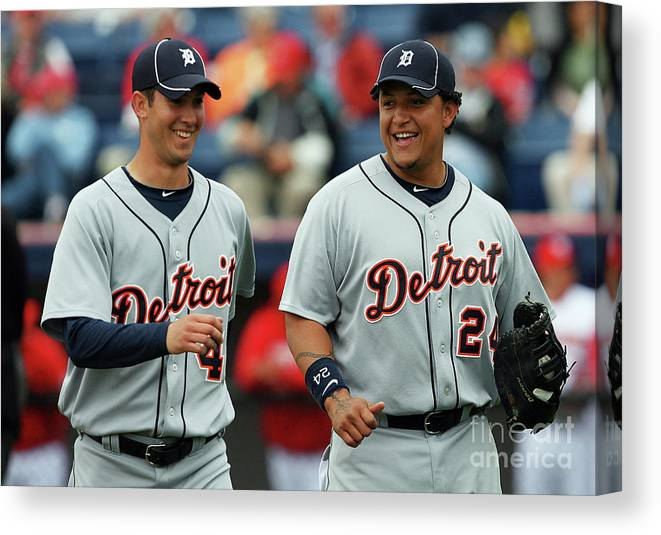 The End Canvas Print featuring the photograph Miguel Cabrera and Rick Porcello by Doug Benc