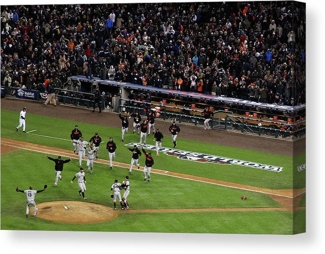 American League Baseball Canvas Print featuring the photograph Miguel Cabrera and Sergio Romo by Christian Petersen