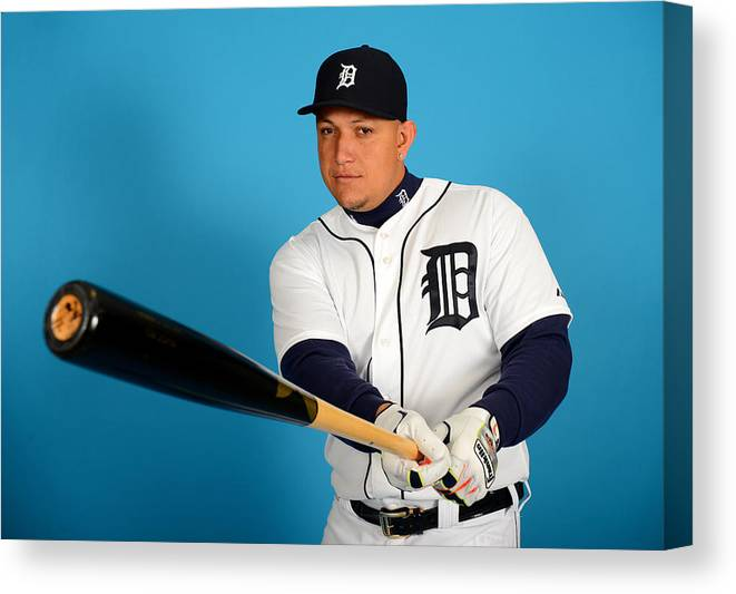 Media Day Canvas Print featuring the photograph Miguel Cabrera by Mark Cunningham