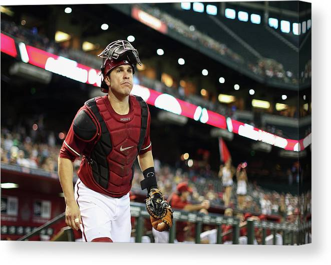 Baseball Catcher Canvas Print featuring the photograph Miguel Montero by Christian Petersen
