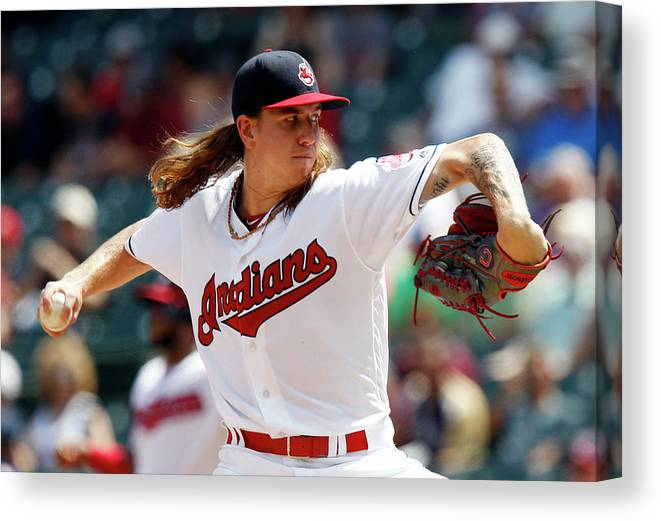 American League Baseball Canvas Print featuring the photograph Mike Clevinger by David Maxwell