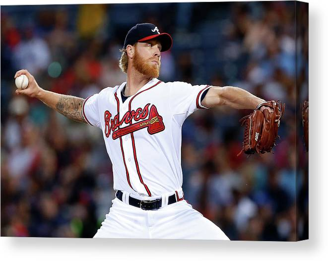 Atlanta Canvas Print featuring the photograph Mike Foltynewicz by Mike Zarrilli