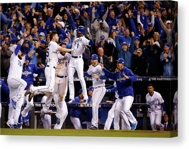 People Canvas Print featuring the photograph Mike Moustakas, Jarrod Dyson, and Eric Hosmer by Sean M. Haffey