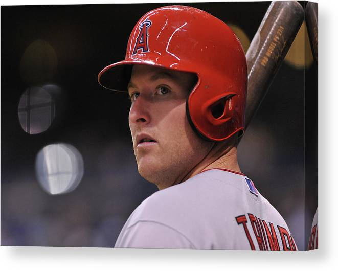 People Canvas Print featuring the photograph Mike Trout by Al Messerschmidt