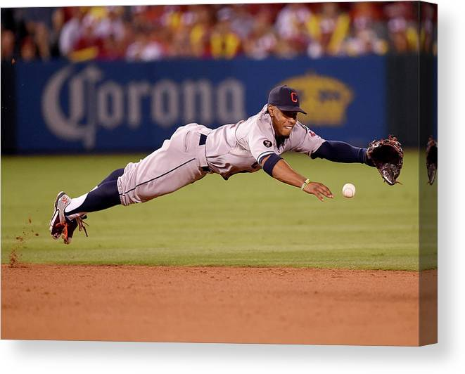 People Canvas Print featuring the photograph Mike Trout and Francisco Lindor by Harry How