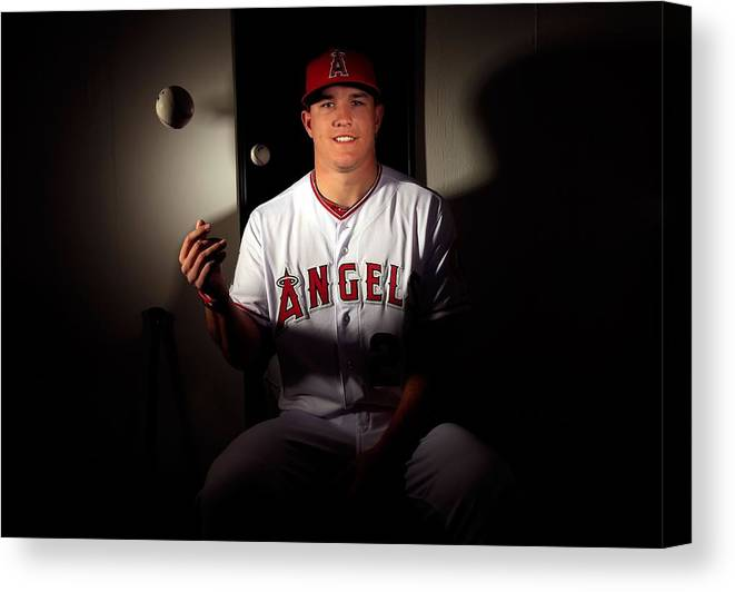 Media Day Canvas Print featuring the photograph Mike Trout by Jamie Squire