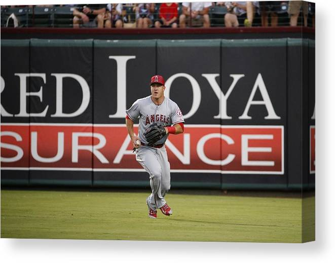 People Canvas Print featuring the photograph Mike Trout by Ron Jenkins