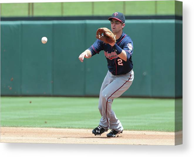 People Canvas Print featuring the photograph Mitch Moreland and Brian Dozier by Rick Yeatts