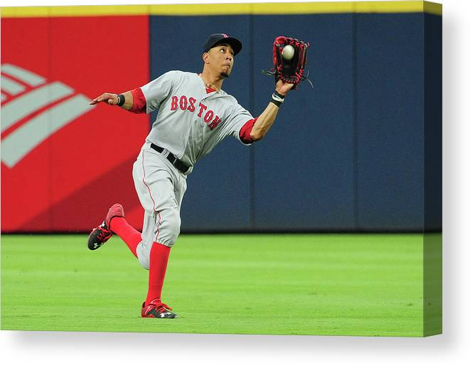 Atlanta Canvas Print featuring the photograph Mookie Betts by Scott Cunningham