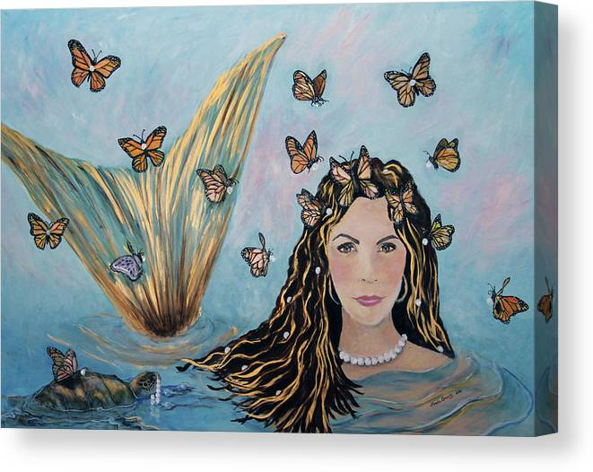 Mermaid Canvas Print featuring the painting More Precious Than Gold by Linda Queally