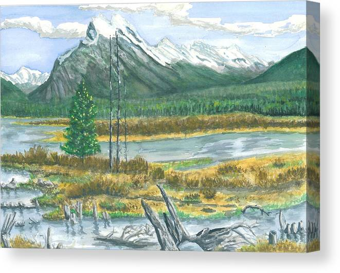 Mountains And Stream Canvas Print featuring the painting Mount Rundle Canadian Rockies by Dan Bozich