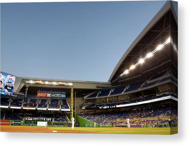 American League Baseball Canvas Print featuring the photograph Nathan Eovaldi by Marc Serota