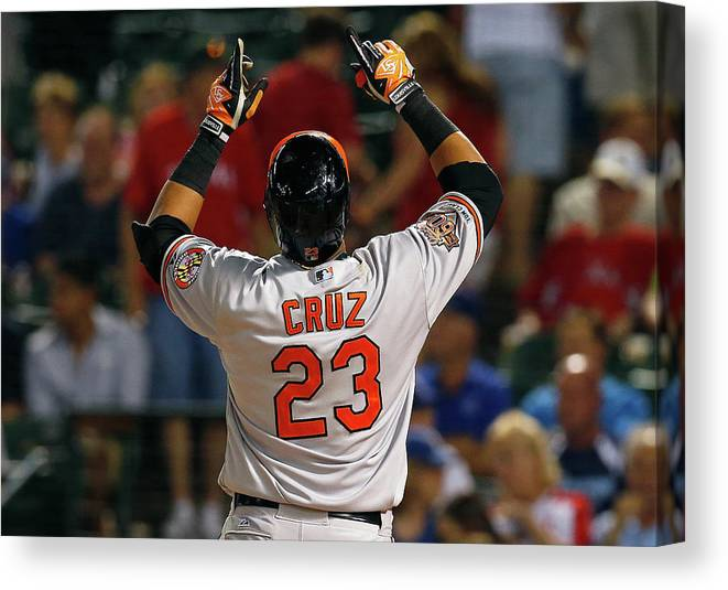 American League Baseball Canvas Print featuring the photograph Nelson Cruz by Tom Pennington