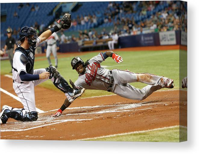 Baseball Catcher Canvas Print featuring the photograph Nick Markakis and Cameron Maybin by Brian Blanco