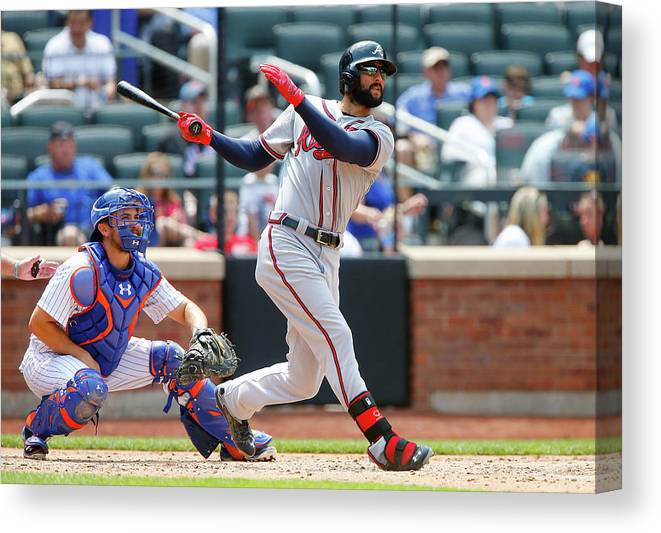 Following Canvas Print featuring the photograph Nick Markakis by Jim Mcisaac