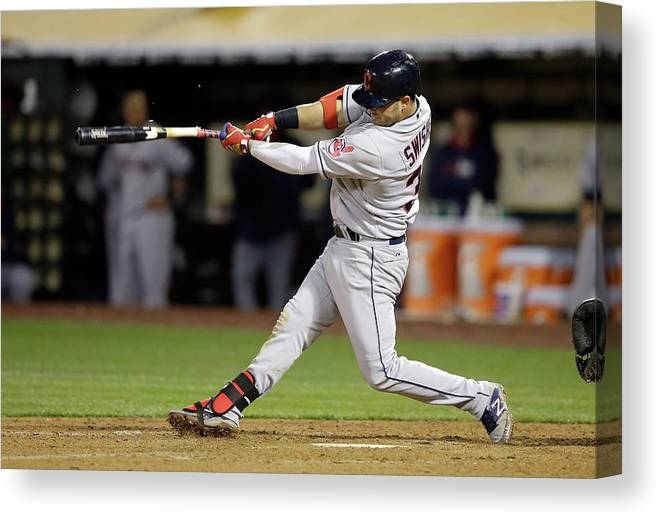 American League Baseball Canvas Print featuring the photograph Nick Swisher by Ezra Shaw
