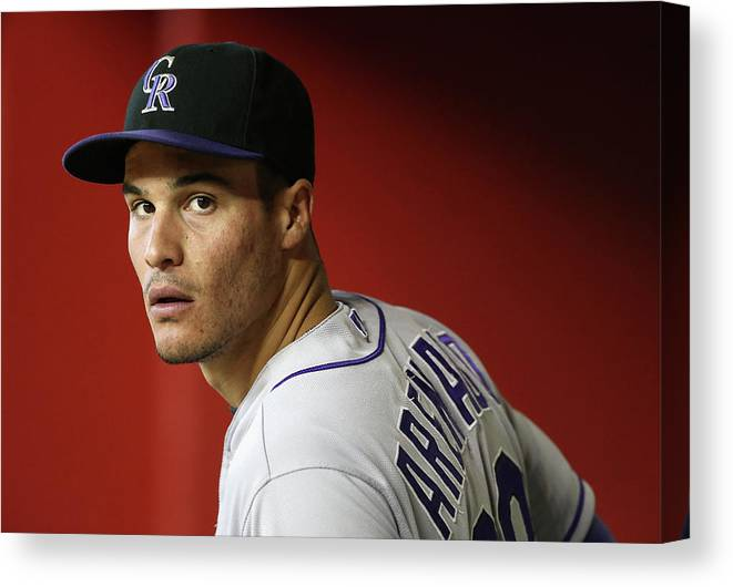 National League Baseball Canvas Print featuring the photograph Nolan Arenado by Christian Petersen