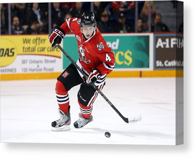 People Canvas Print featuring the photograph Ottawa 67s v Niagara IceDogs - Game Six by Vaughn Ridley