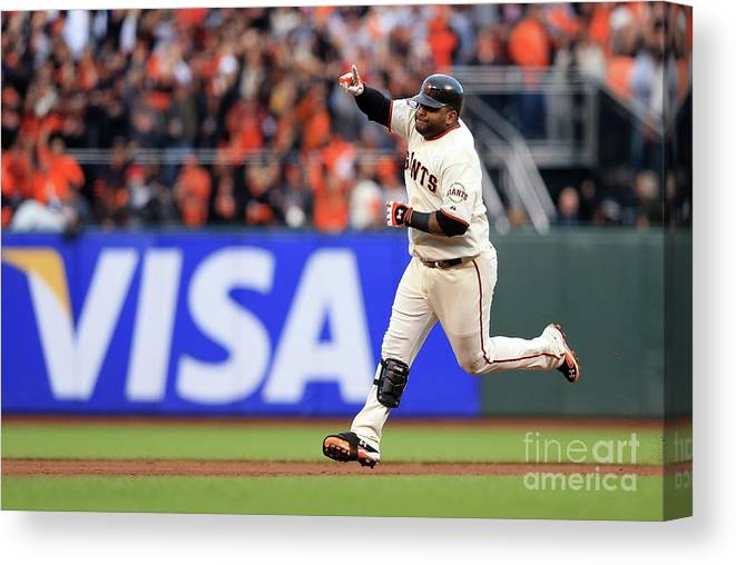 San Francisco Canvas Print featuring the photograph Pablo Sandoval and Justin Verlander by Doug Pensinger