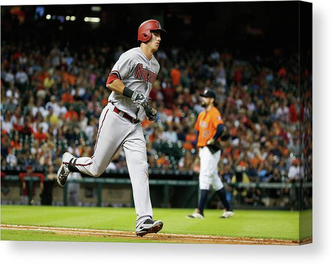 People Canvas Print featuring the photograph Pat Neshek And Jake Lamb by Scott Halleran