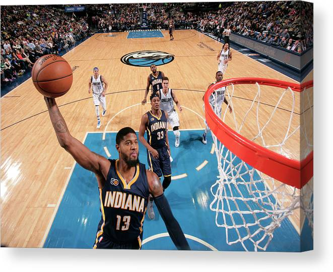 Nba Pro Basketball Canvas Print featuring the photograph Paul George by Glenn James