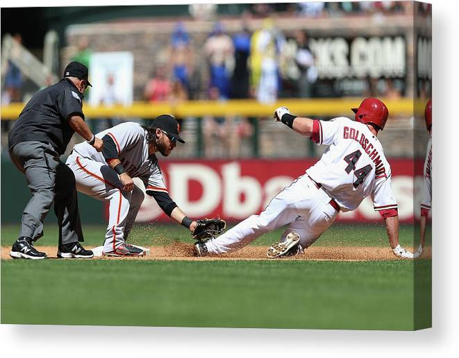 2nd Base Canvas Print featuring the photograph Paul Goldschmidt and Brandon Crawford by Christian Petersen
