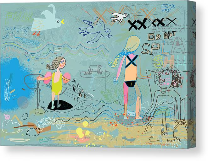 Child Canvas Print featuring the drawing People on the beach having fun by Beastfromeast