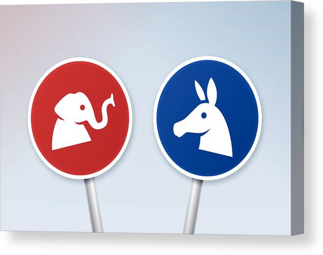 Horse Canvas Print featuring the drawing Political Debate Signs by Filo