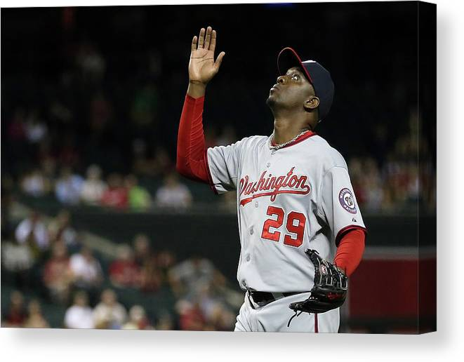 Relief Pitcher Canvas Print featuring the photograph Rafael Soriano by Christian Petersen