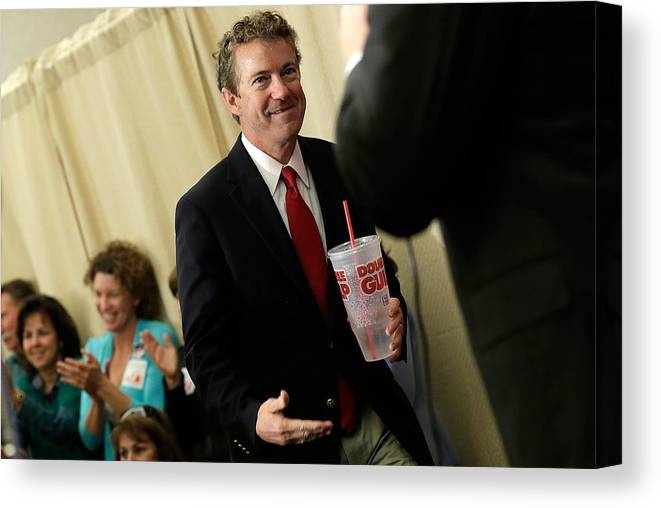Democracy Canvas Print featuring the photograph Rand Paul Joins Ken Cuccinelli At Campaign Rally In Virginia by Win McNamee
