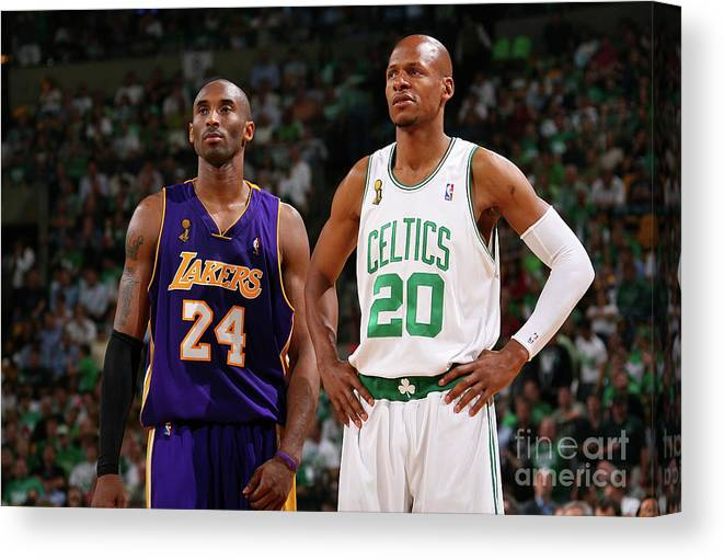 Nba Pro Basketball Canvas Print featuring the photograph Ray Allen and Kobe Bryant by Jesse D. Garrabrant