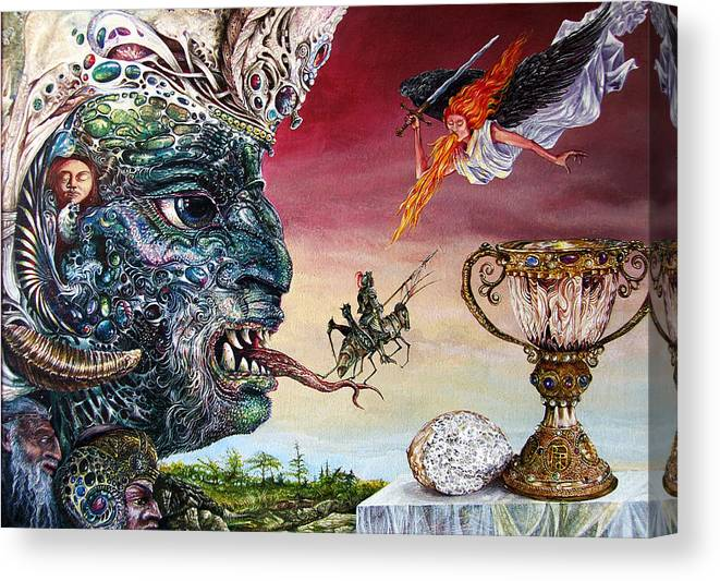Surrealism Canvas Print featuring the painting Revelation 20 by Otto Rapp