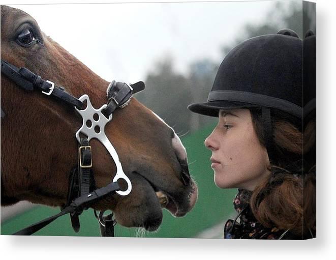 Horse Canvas Print featuring the photograph Riding school in Minsk Region, Belarus by Viktor Drachev